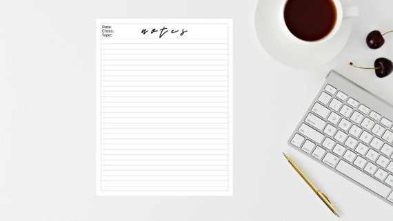 Simple Note Taking Template Student College Notes Printable Digital Download Instant Download