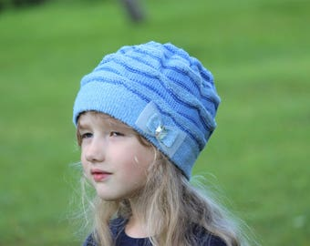 3b290c07c9a SALE 50% OFF Machine knitted warm blue hat with bow for girl age 4-9 Pastel  blue beanie Sky blue hat