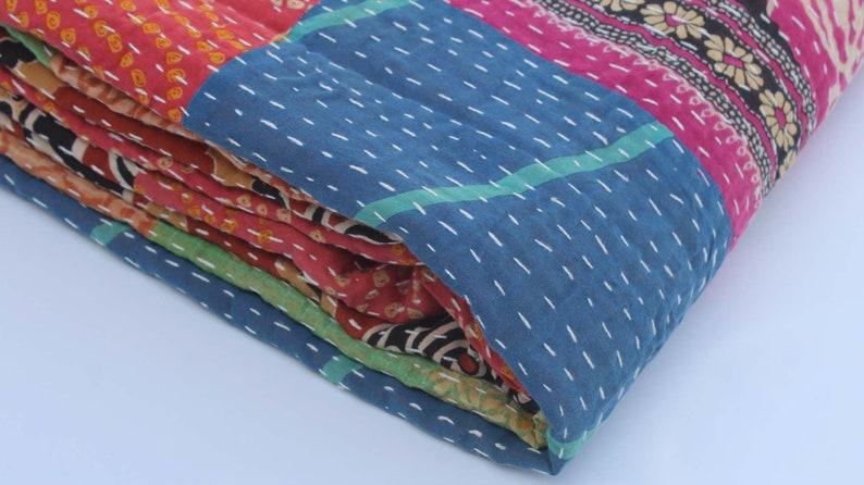 Vintage Kantha Quilt Queen Size Handmade Kantha Blanket Reversible Kantha Bedding Throw Hand Stitched Kantha Bedspread