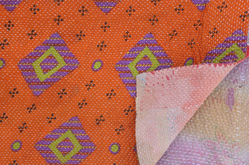 Indian Handmade Kantha Quilt Reversible Vintage Kantha Blanket Hand Stitched Kantha Throw Bohemian Kantha Bedspread Cotton Kantha Bed Cover