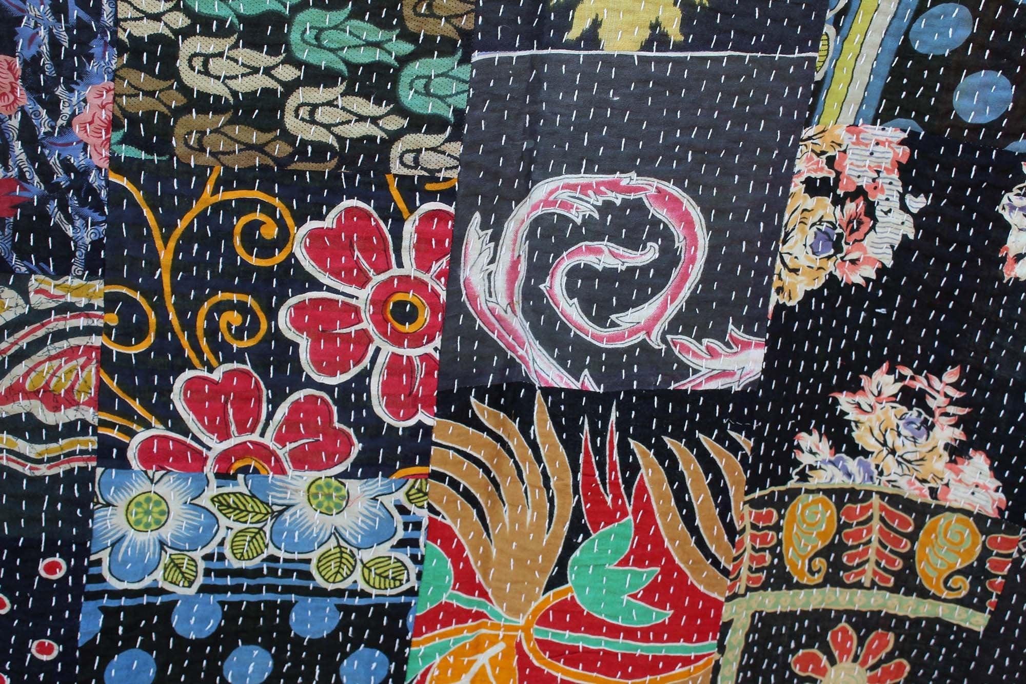 Kantha cousu main noir king-size indien coton Sari Patchwork Kantha BlanketThrow coloré Kantha couvre-lit Queen taille fait à la main Kantha