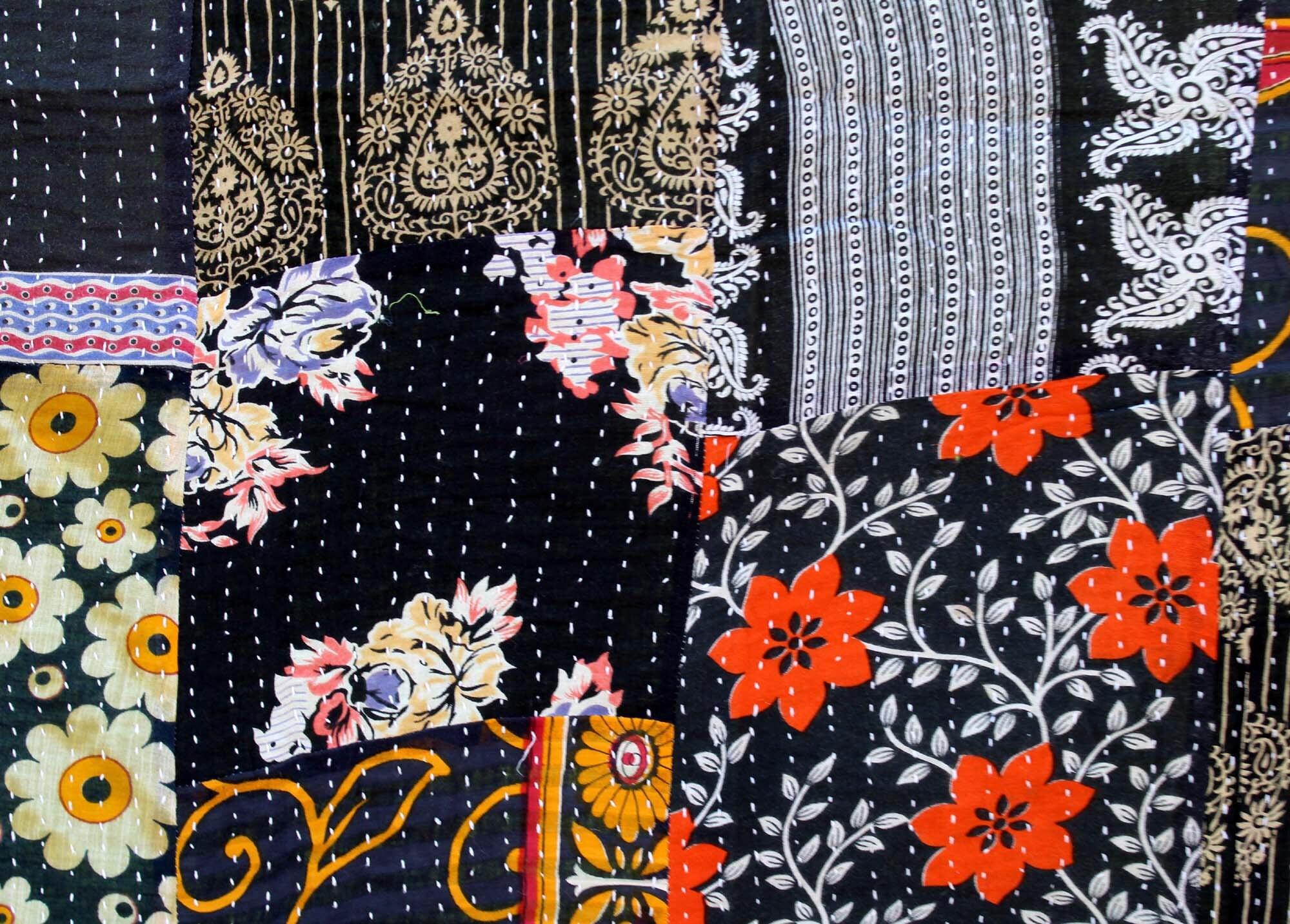 Couverture cousu Kantha jet roi couvre-lit coton Kantha couvre-lit Patchwork Vintage couette noir Kantha fait à la main à la main