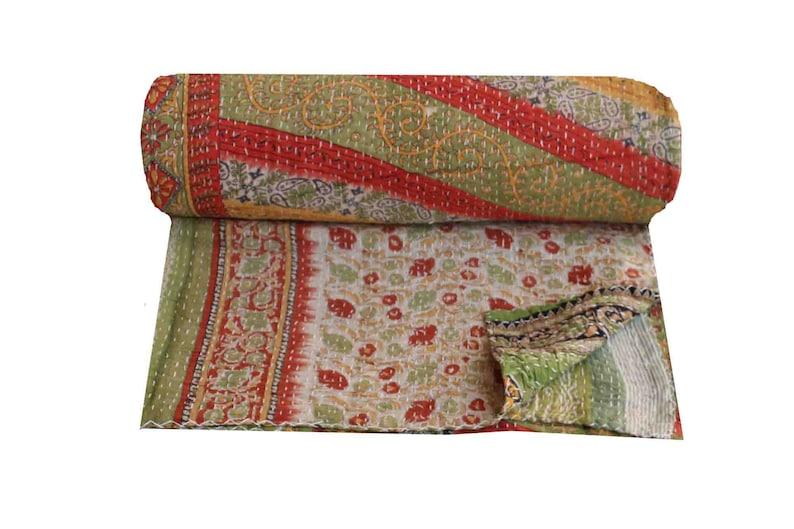 Handmade Cotton Kantha Quilt Queen Size Vintage Sari Patchwork Kantha Blanket Reversible Kantha Bedspread Hand Stitched Kantha Bedding Throw