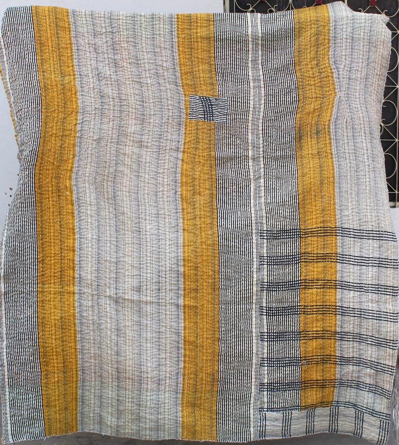 Reversible Kantha Quilt Vintage Kantha Blanket Twin Size Kantha Bedspread Handmade Patchwork Kantha Throw Floral Design Kantha Bed Cover