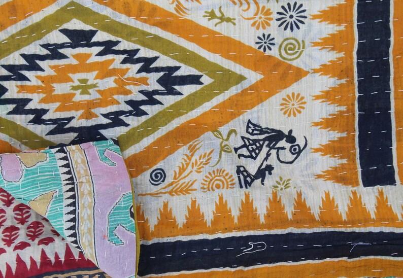 Indian Cotton Kantha Quilt Reversible Kantha Blanket Handmade Sari Kantha Throw Bohemian Bedspread Kantha Bed Cover