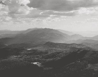 Utah Mountains, Black and White Photograph, Landscape Print, Large Wall Print, Wasatch Mountains, Strawberry Peak, Large Photo Prints, Utah