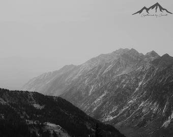 Utah Mountains, Black and White Photography, Utah Landscape, Mountain Photo Print, Mountain Photography, Landscape Photography, Wall Art