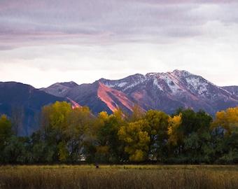 Utah Mountains, Landscape Print, Large Wall Print, Wasatch Mountains, Provo, Large Photo Prints, Fall Colors, Sunset Photo, Utah