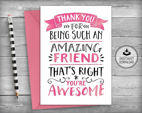 Thank You Cards Friendship Cards Thank You Friend Friend Etsy