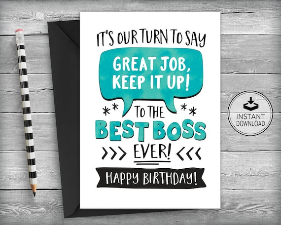 Boss Birthday Card Card For Boss Boss Appreciation Card Etsy