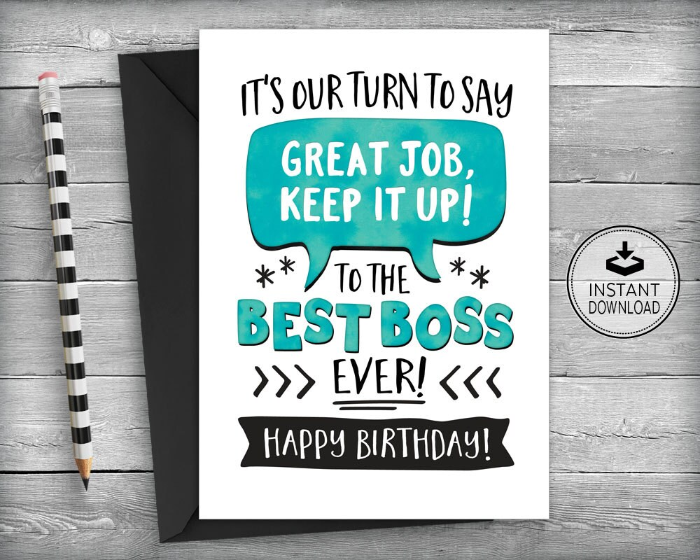 boss birthday card card for boss boss appreciation card | etsy