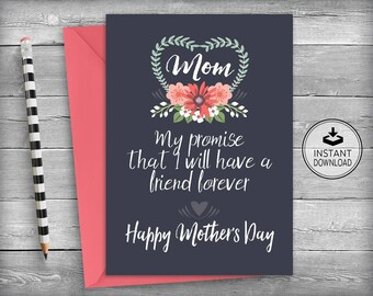 Mothers Day Card | Mothers Day Cards | Card For Mom | Mothers Day Gift | Mother's Day Card | Printable Instant Download | Chalkboard Cards