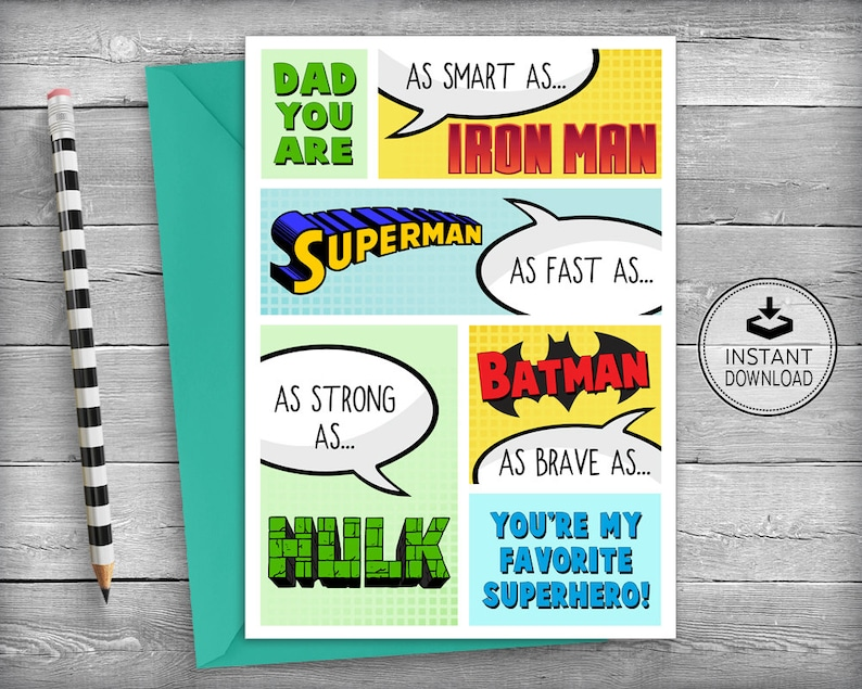 Fathers Day Cards Superhero Birthday
