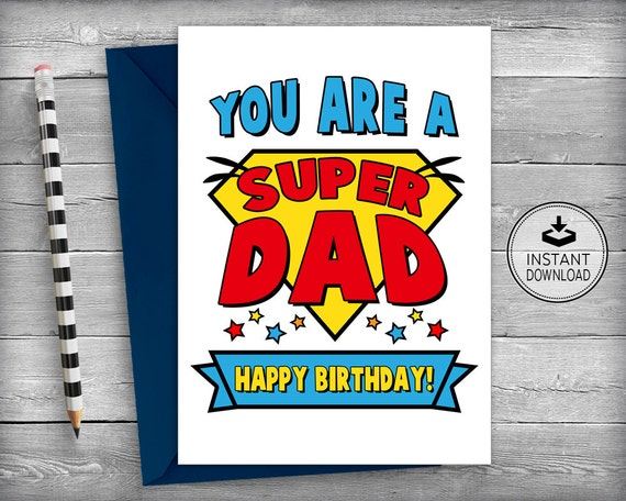Dad Superhero Birthday Card Cards Father