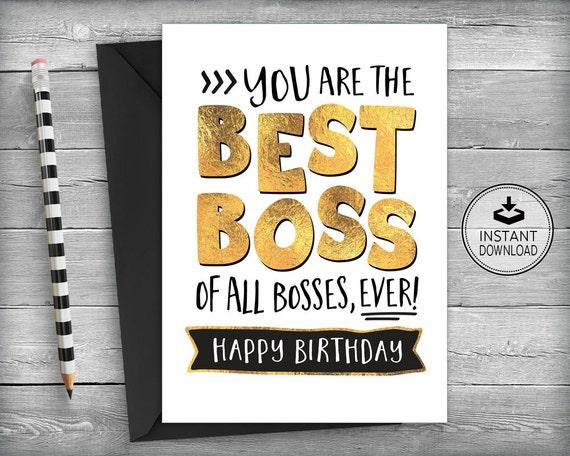 Boss Birthday Card Card For Boss Boss Appreciation Card Etsy