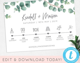 wedding timeline template editable eucalyptus order of the day printable wedding day wedding itinerary templett kendall _87