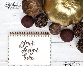 Download Free White journal and golden pumpkin flatlay / Spiral journal instagram mockup / Square Autumn themed background for digital lettering PSD Template
