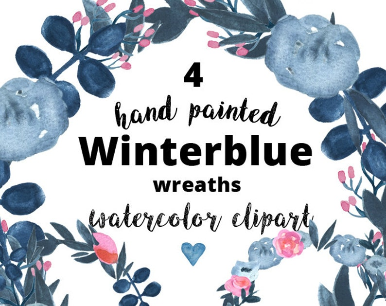 4 Watercolor clipart floral wreaths  navy Payne's gray image 0