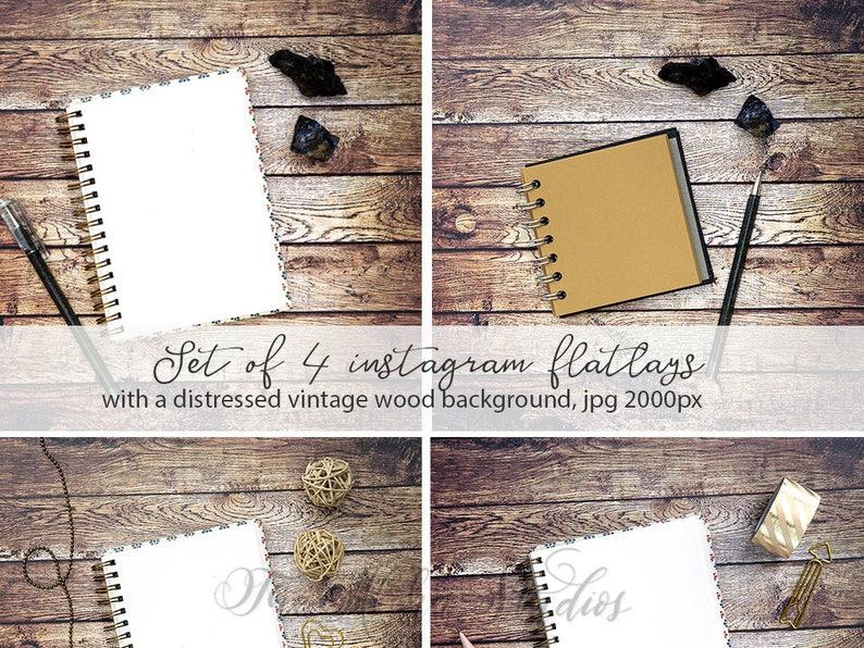 4 journal desktop flatlays / Set of 4 instagram backgrounds / image 0