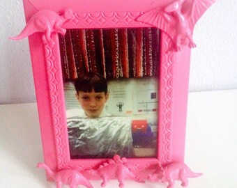 "Pink square 3"" x 5"" dino frame"
