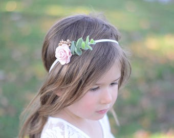Flower headband, fall headband, baby headband, boho headband, flower crown, flower girl headband, blush headband, girls headband