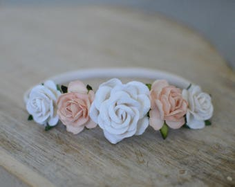 Flower headband, fall headband, baby headband, boho headband, flower crown, flower girl headband, soft peach headband, girls headband