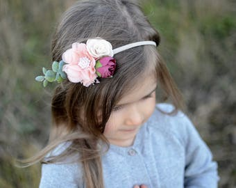 Flower headband, burgundy blush headband, baby headband, boho headband, flower crown, flower girl headband, nylon headband, girls headband