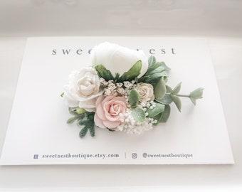 newborn baptism christening hair accessories bridal floral baby hair clip wedding hair clip Small flower girl hair clip baby headband