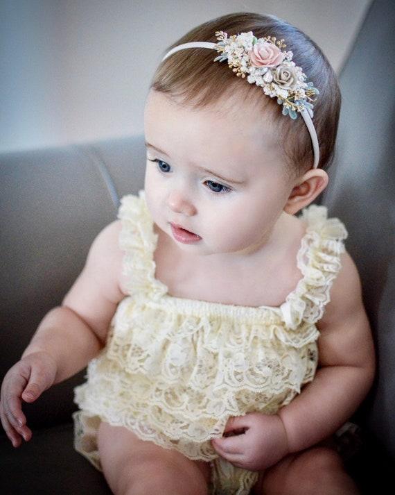 hair clip newborn dainty headband Blush and gold headband baby hair accessories elegant pearl crystal rhinestone  flower girl head piece