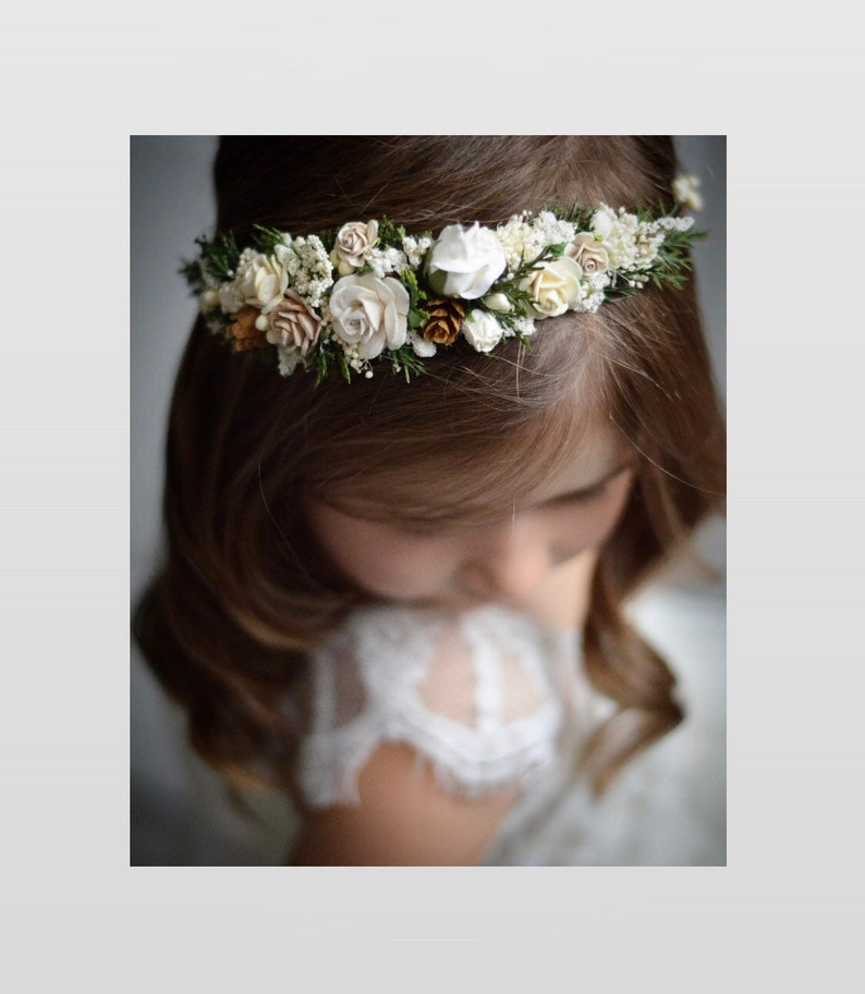 c859dbe47ba Ivory and white flower crown, winter christmas wedding hair piece,flower  girl bridal headband, baby floral halo,pine cone rustic greenery