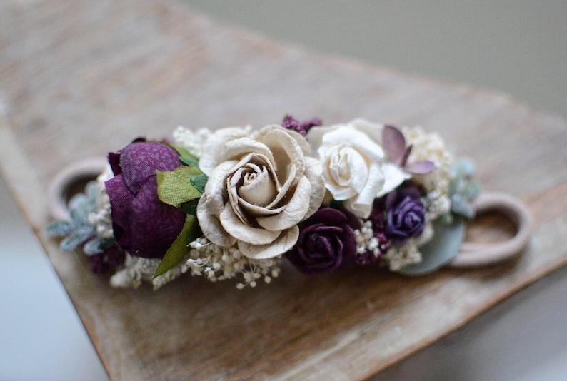 flower girl headpiece hair accessories,bridal wedding clip,floral Plum purple aubergine ivory taupe fall flower headband baby flower crown