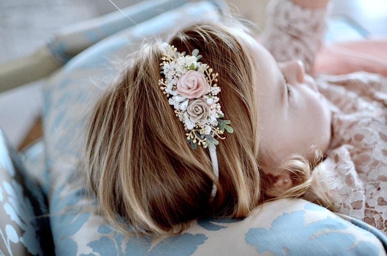 hair clip baby hair accessories Blush and gold headband elegant pearl crystal rhinestone  flower girl head piece newborn dainty headband