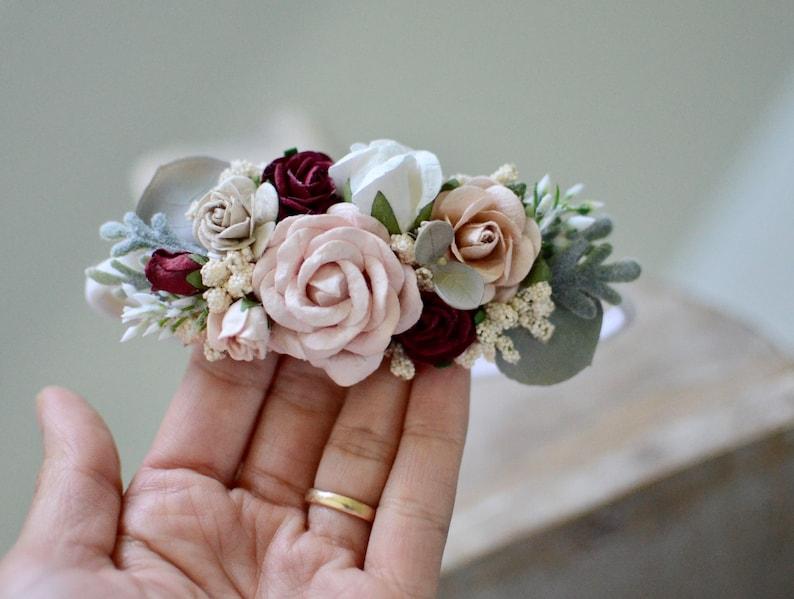boho headband,christmas flower crown baby headband flower girl headband,boho wedding Fall flower headband burgundy blush headband