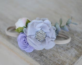 Flower headband, headband, baby headband, boho headband, flower crown, flower girl headband, nylon headband, girls headband
