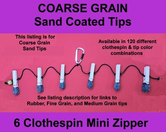 6 Pin Mini Zipper Torture With COARSE GRAIN Sand Tips.  NEW Clothespin & Sand Tip Colors Available. Serious Sadists/Masochists only!