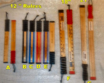 """New Colors! 12"""", 18"""", & New 21"""" Punishment Rulers - NOT just a paddle.  It's much better than that! Read the description for more info."""