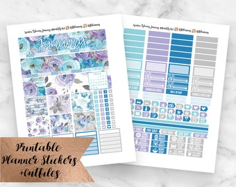 January Monthly Kit Winter Blooms Printable Planner Stickers- December Monthly View- Erin Condren Planner Stickers