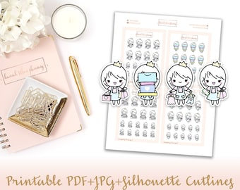 Shopping Princess Printable Stickers with Cutlines   Shopping Spree Bags Character Printable Stickers