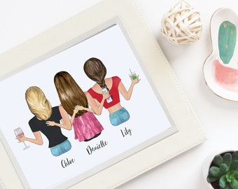21st birthday gift for best friend Custom 3d portrait illustration from your photo