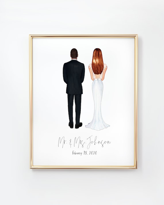 and Mrs Engagement Gift Greeting Card Custom Wedding Card | Congrats Mr Bridal Shower Present Personalized Bride and Groom