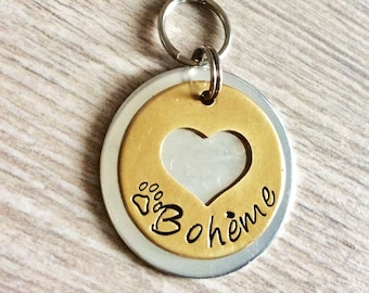 24 K ID CAT Dog Pet Tag Heart Butterfly Personalized Customized Animal Name Telephone Hand Stamped Engraved Message Stainless Copper Luna