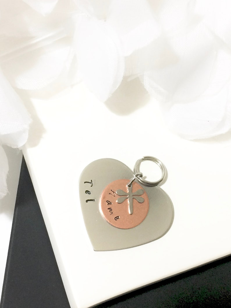 ID CAT Dog Pet Tag Heart Personalized Customized Animal Name Telephone Hand Stamped Engraved Message Stainless Copper Luna Moon Astral