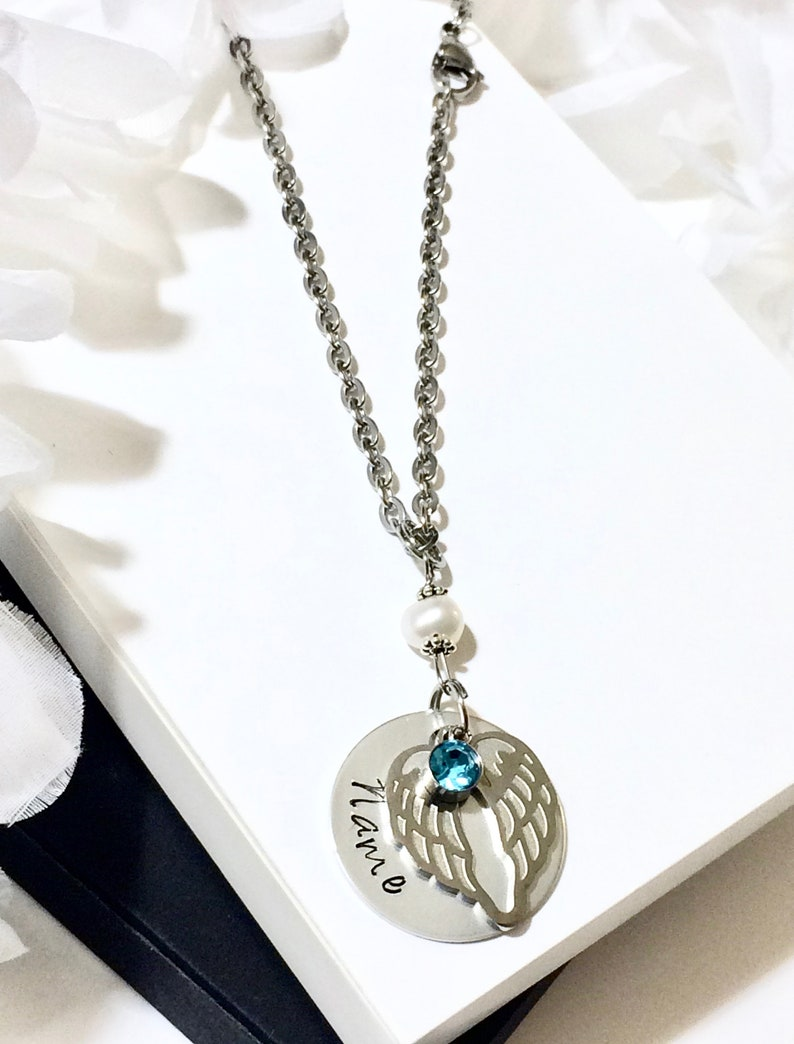 CAR Hanger STAMPED Wing Angel Name Word Remembrance Pet Loss Gift In Loving Memory Dangle Rear View Mirror Chain Engraved Custom Birthstone