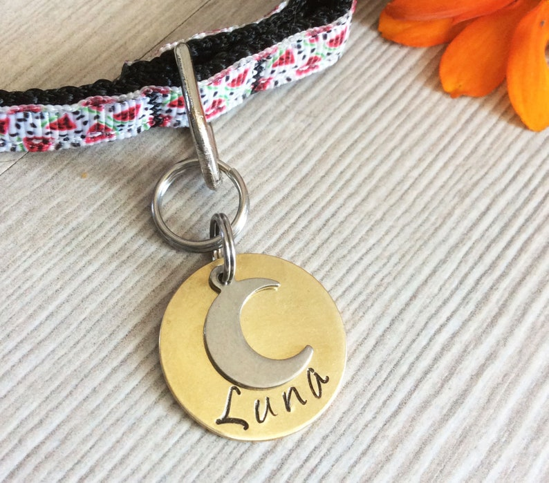 25mm ID CAT Dog Pet Tag Luna Moon Astral Sky Personalized Customized Animal Name Telephone Hand Stamped Engraved Message Stainless Copper