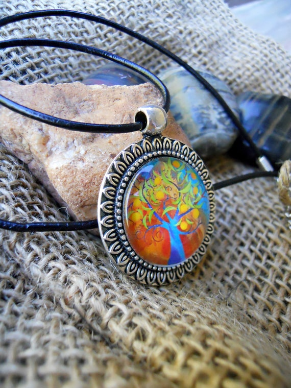 mixed colour pendant silver chain necklace COLOURFUL TREE NECKLACE multicoloured bright flower tree necklace cabochon tree jewellery