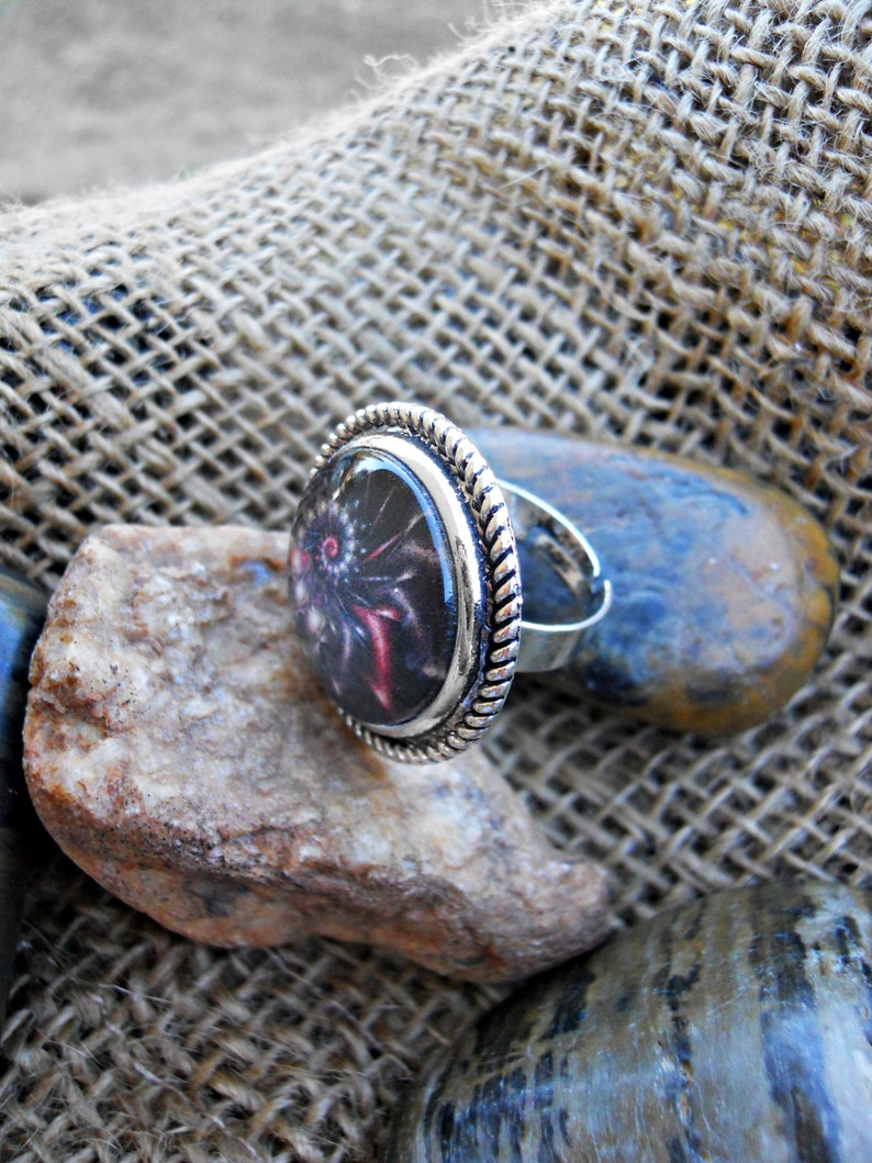 Abstract Black Spiral Adjustable Ring Antique Silver finish Choice of bezel Abstract Swirl Ring Black Galaxy ring Galactic glass dome ring