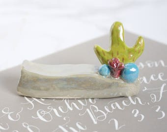 Ready to Ship,  Ceramic Cactus Pen Holder for Calligraphers, Calligraphy Pen Holder, gifts for artists, oblique pen