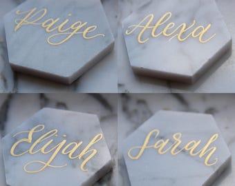 "Calligraphy on 3"" Carrara White Marble Hexagon Tile - Name Place card for weddings"