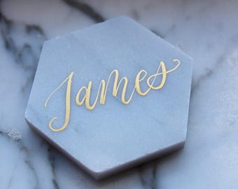 "Calligraphy on 2"" Carrara White Marble Hexagon Tile - Name Place card for weddings"