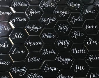 "Calligraphy on 2"" Glossy Black Hexagon Tile - Name Place card for weddings"